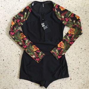 HURLEY Black Floral ZIP Mesh UPF Active Bodysuit